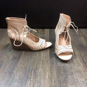 NEW Torrid Nude Lace Up Wedges Heels | 10